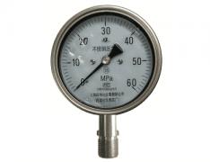 Y-100B-FZQ安全型不锈钢耐振压力表(0-60MPa径向型)