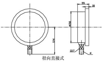 Y-150A半钢压力表(0-2.5MPa径向型)安装图片