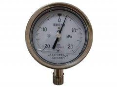 YE-100BFZ不锈钢耐振膜盒压力表-20-20KPa径向型
